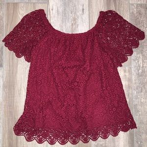 KNOX ROSE Burgundy Lace Off Shoulder Blouse Small